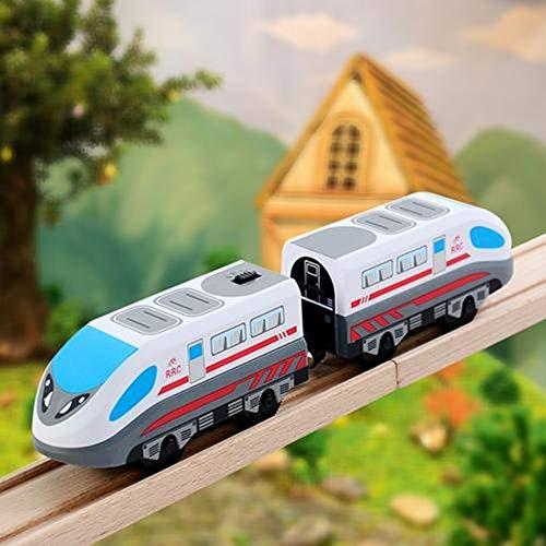 Holzeisenbahn Zug Elektrische Hohe Geschwindigkeit Spielzeug Zug Kinder Lokomotive Kompatibel mit Holzschienen Kinder Spielzeuglok Junge Mädchen Kleinkind Spielzeug (J: Weiß + Hellgrün / 2 Abschnitte)