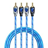 TOPSTRONGGEAR 9 Feet 2 Channel Twisted Pair RCA Cable Split Pin 100% Copper-2 Male to 2 Male RCA Signal Cable