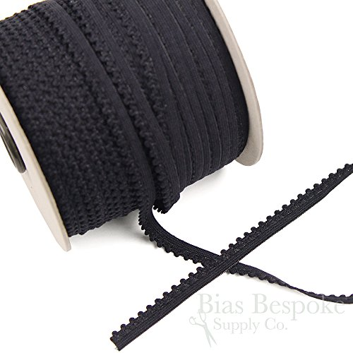 12 Yards of MAE Plush Picot Lingerie Elastic, Off-Black, Made in Italy