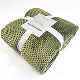 MSM Flanell Fleece Überwurfdecke, Super Weich Fluffy Warm Solide Bett Kuscheldecke Für Sofa Mikrofaser Dekorative Decke-olivgrün 70x100cm(28x39inch)