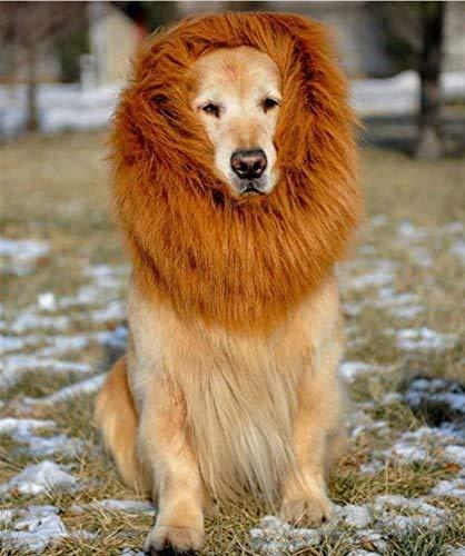 Jihan Dog Lion Mane, peluca grande para perro y gato, pelo con orejas, para festival, fiesta de disfraces