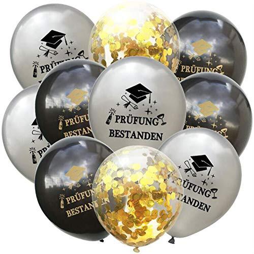 Oblique Unique® Konfetti Luftballon Set Prüfung bestanden für Schulabschluss Abi Abitur Studium Führerschein Abschluss - Silber Schwarz Gold