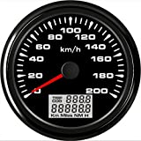 ELING velocímetro GPS universal velocímetro 0-200km/h odómetro para carreras de autos motocicleta 3-3/8 pulgadas (85mm)