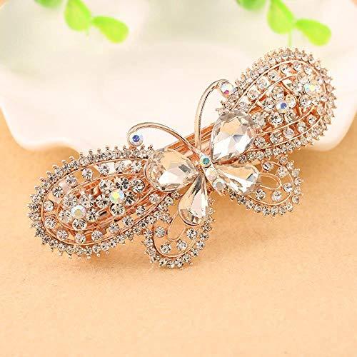 Style Coréen, Papillon En Or Rose, Diamant, Coiffe De Grande Pince Pour Ressort Adaptée Aux Femmes (Paquet De 5), Style 3