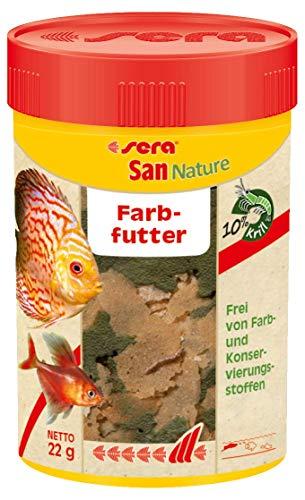 sera San Nature 100 ml - Farbfutter aus Flocken mit 10{6191935d78815262a412f544039bf3debd6994e95a10fadf7fe95c26277c007d} Krill für die natürliche Farbentwicklung, Flockenfutter fürs Aquarium, Fischfutter mit hoher Futterverwertbarkeit (und somit weniger Algen)