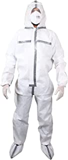 VOUCH SITRA & CE Certified Laminated with Seam Taping PPE Safety KIT with Full Body Coverall, Latex Gloves, Shoe Cover, Face Mask, Face Shield, Washable & Reusable - White