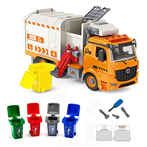 iLifeTech Garbage Trucks Toy with Light and Sound, Friction Powered Take Apart...