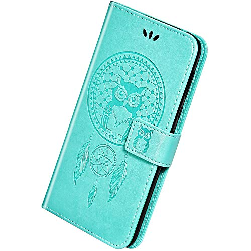 Herbests Kompatibel mit Huawei Honor 10 Handyhülle Dünne Retro Eule Traumfänger Motiv Muster Bookstyle LederHülle Klappbar Leder Tasche Flip Case Schutzhülle Kartenfächer Magnetisch,Grün