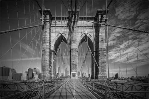 Posterlounge Acrylglasbild 90 x 60 cm: New York City Brooklyn Bridge im Detail von Melanie Viola - Wandbild, Acryl Glasbild, Druck auf Acryl Glas Bild
