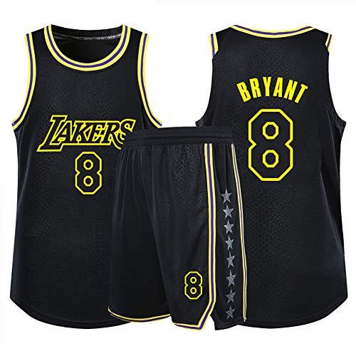 Dybory Kobe Bryant Jersey, Men Kid Black Mamba Lakers 8# Uniforme De Baloncesto, Classic Retro Conmemorative Edition Camiseta De Baloncesto Top + Short,Negro,XS