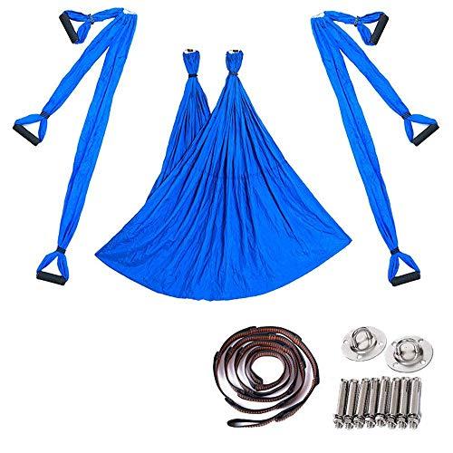 Camping Hammock, Yoga Swing Reverse Gravity Aerial Yoga Hammock with Stretch Belt Hanging Pan Yoga with Gym Yoga Hammock (Color : Blue, Size : 250x