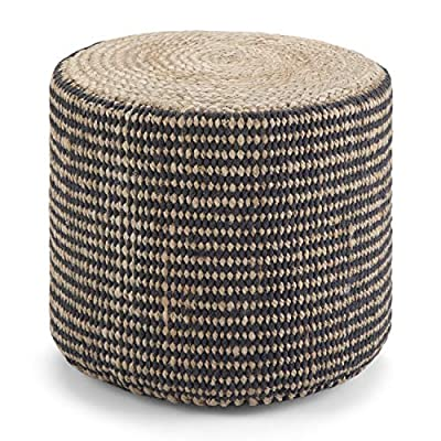 Simpli Home Larissa Round Pouf, Footstool, Upholstered in Natural Hand Braided Jute, for the Living Room, Bedroom and Kids Room, Boho, Contemporary, Modern