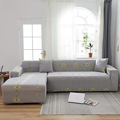 Funda Sofas 2 y 3 Plazas Gris Retro Fundas para Sofa con Diseño Elegante Universal,Cubre Sofa Ajustables,Fundas Sofa Elasticas,Funda de Sofa Chaise Longue,Protector Cubierta para Sofá