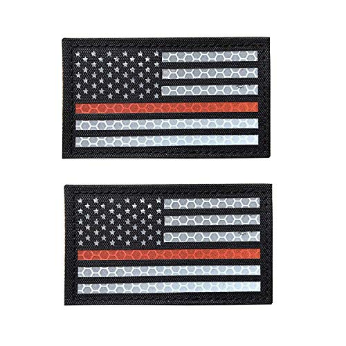 Reflective Thin Red Line US USA American Flag Firefighter First Responders Patches for Search and Rescue with Hook and Loop Fastener Patch (A-2 pcs)