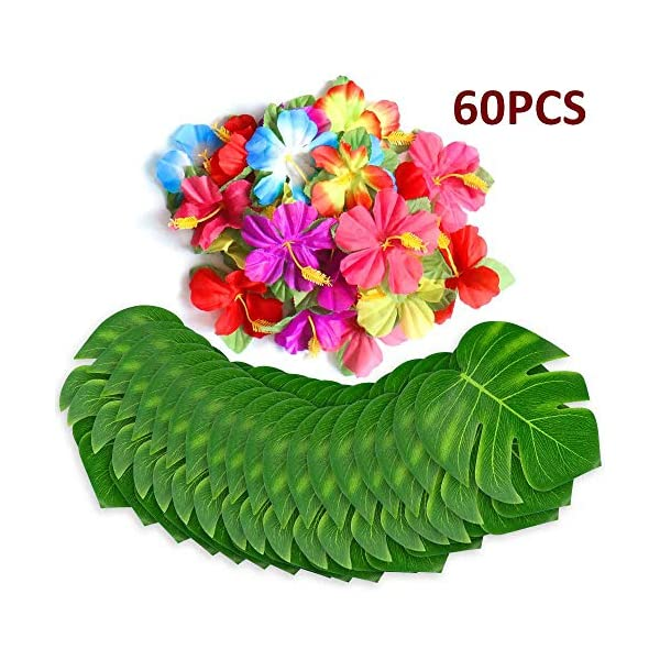 Wisolt Foglie Tropicali Compleanno Hawaiian Luau Party Decoration 20 Pack Golden Tropical Palm Leaves per Matrimoni