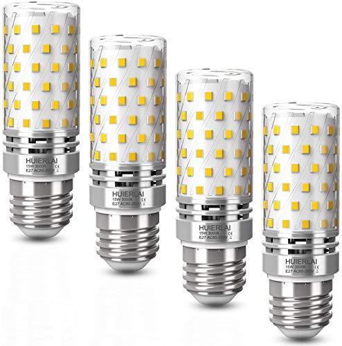 LED E27 Warmweiß 15W led Lampe 3000K 1600LM E27 Led Mais Birne Ersatz 120W Glühlampe, Edison E27 Led Glühbirnen Lampen Led Birnen Maiskolben Kerze Licht Leuchtmittel Energiesparlampe, 4er Pack
