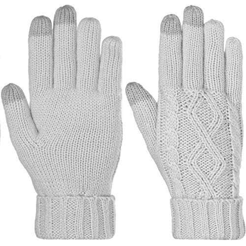 DG Hill Warm Texting Gloves For Women, Cable Knit Touchscreen Winter Text Gloves Cute & Cozy Fleece Lining,Light Gray, One Size