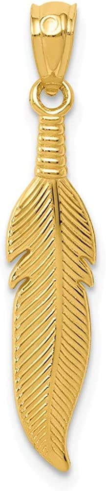 Solid 14k Yellow Gold Men's Feather Pendant Charm - 28mm x 4mm