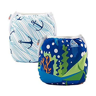 ALVABABY 2pcs Swim Diapers Reuseable Adjustable for Baby Gifts & Swimming Lessons (Boat Anchor& seafloor Word, 0-3 Years)