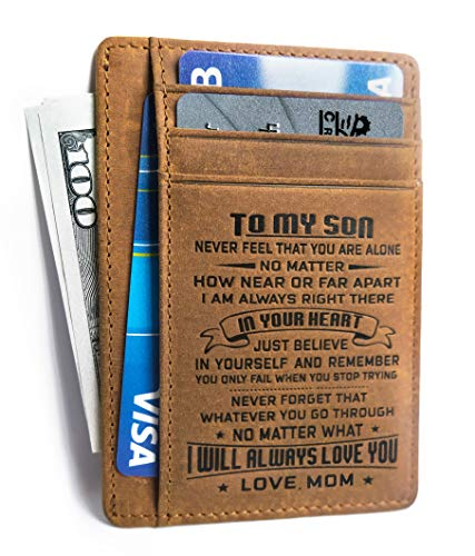 Minimalist Wallets Gift for son from Mom Slim Wallet Cowhide wallet Front Pocket Wallet (To my Son - Love Mom)