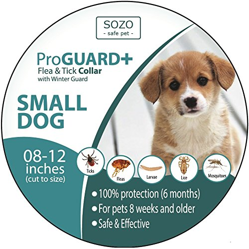 SOZO Safe Pet Flea Tick Collar - Small Dog with 12 Inch Neck or Smaller - Natural Essential Oils