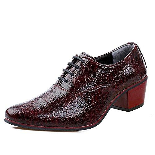 SHELAIDON Herren Krokodilmuster Derby Schuhe Britische Hochzeit Heels Schuhe Business Kleid Schuhe (EUR40,Wine)