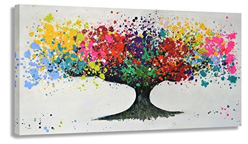 Kunstdruck auf Leinwand - Der Baum by BW (div. Größen) Bild fertig auf Keilrahmen ! Graffiti Like Banksy Street Art Gemälde Wandbild (70x140cm)