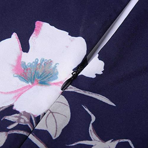 Floral Jumpsuit for Women V Neck Loose Playsuit Party Romper Short Sleeve Navy