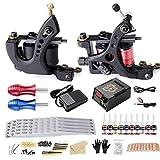 Solong Tattoo Komplettes Tattoo-Set 2 Pro Machine 10 Tinten Energieversorgung EU-Stecker Fußpedal Nadeln Griffe Tipps TK267