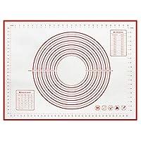 ン滑り止め クッキングマット シリコーンベーキングマットノンスティックペストリーパッドシートピザ生地ローリングマットの再利用可能なオーブンパティスリーケーキベーキングツール (色 : Red, Size : 50x60cm)