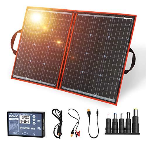 DOKIO 100W bolsa solar plegable panel solar móvil con celdas monocristalinas más efectivas regulador de carga solar(2 puertos USB) fácil de transportar(peso:2,7kg) funciona con baterías de 12V