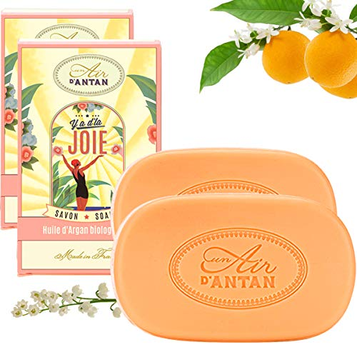 Pack 2x100g Seife JOIE Un Air d'Antan/Parfüm: Orangenblüte/Bio-Arganöl & Bio-Sheabutter/Parabenfreie/Seife BIo/Organische Seife/Körperseife/Feste Seife/So Mild Wie Savon De Marseille/Duftseife