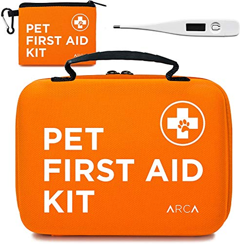 ARCA PET Cat & Dog First Aid Kit Home Office Travel Car Emergency Kit Pet Travel Kit – 100 Pieces with Emergency Collar and Pet Thermometer & Bonus Mini Pouch [Hard Case for Protection]