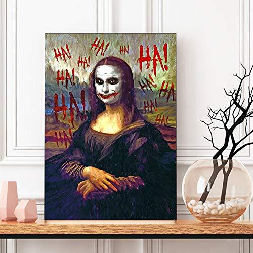 Joker Mona Lisa Pop Art schilderij HD wand canvas poster en druk canvas decoratieve afbeelding voor woonkamer Home Decor 19.7x29.5inch