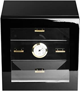 LBLMSB Cigar Box, Cedar Wood Cigar Humidor, Cigar Box, Cigar Humidifying Box (Color : Black)