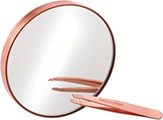 Brows by Tweezerman Rose Gold Mini Slant Tweezer and 10x Mirror