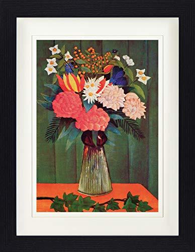 1art1 Henri Rousseau - Blumenstrauß Mit Efeuzweig, 1909 Gerahmtes Bild Mit Edlem Passepartout | Wand-Bilder | Kunstdruck Poster Im Bilderrahmen 40 x 30 cm