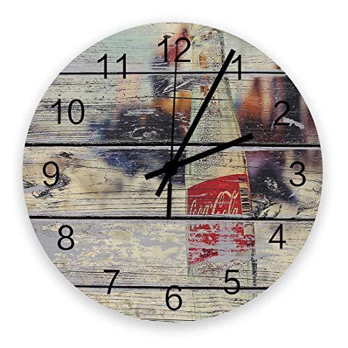 Reloj de pared de madera redondo de 10 pulgadas, botella de coca cola en la playa, grano de madera, silencioso, sin tictac, reloj de pared redondo, reloj de manos con números romanos, sala de estar, d