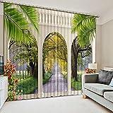 Hailongdia 3D Blackout Curtains Luxury Living Room Marble Doors Landscape Doors and Windows Curtains Home Decoration Curtains 166(H) X75(W) Cm X2