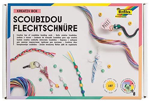 folia 73019 - Kreativ Box Scoubidou Flechtschnüre, Bastelset mit 197 Teilen inkl. Anleitung - zum Gestalten individueller Scoubidous und Armbänder