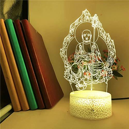 Estatua de Buda de moda USB led luz de noche creativa 5D luz de noche visual acrílico multicolor lámpara de mesa pequeña para decoración del hogar con base agrietada