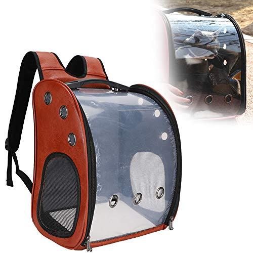 Zerodis Bolsa de Transporte para Gatos, Mochila Transparente para Mascotas portátil Bolsa de Viaje para Mascotas Mochila Impermeable Mochila para Mascotas Transpirable al Aire Libre para(marrón)