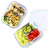 Kitchen Glass Food Storage Containers with Lids,2 Pack,35 Ounce 2&3 Compartment Airtight Glass Meal Prep Containers,Leak Proof Divided Containers,Oven&Freezer&Microwave Safe Bento Lunch Box Containers