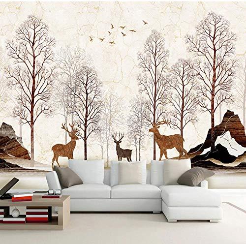 Papel pintado mural de seda 3D árbol alce papel pintado decoración sala de estar sofá TV fondo pared café restaurante bar pared