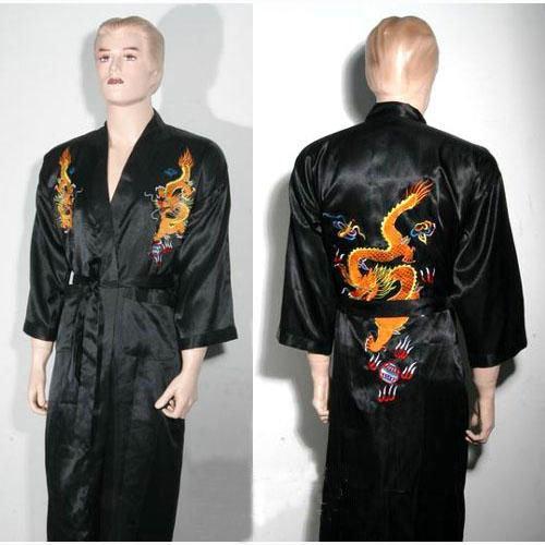 Drachen Nachthemd Kimono Schwarz Einheitsgröße
