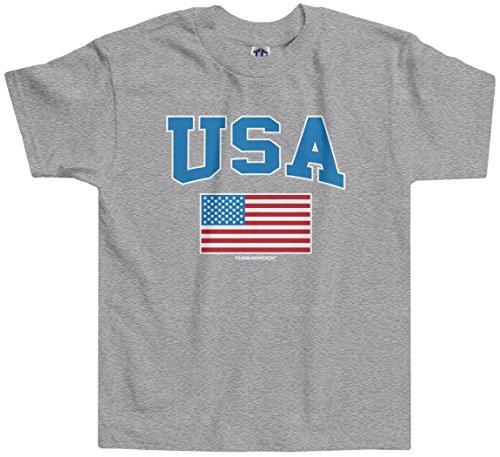 Threadrock Little Boys' USA Text and American Flag Toddler T-Shirt 4T Sport Gray