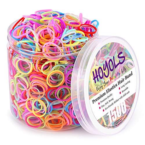 Small Toddler Elastics Mini Hair Ties 10 Colored Rubber Bands for Hair Ponytail Holders for Baby Girl Infants, Ligas Para Cabello 1500 pcs by HOYOLS