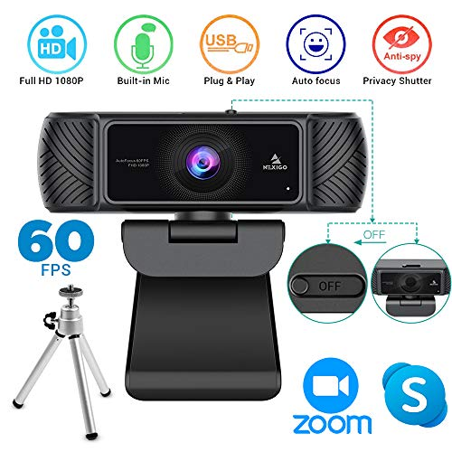 2020 1080P 60FPS Webcam with Microphone, Privacy Cover and Tripod, NexiGo Pro USB HD Computer Web Camera w/Mic Video Cam for Skype Zoom Streaming Gaming Conferencing, Mac PC Laptop Desktop