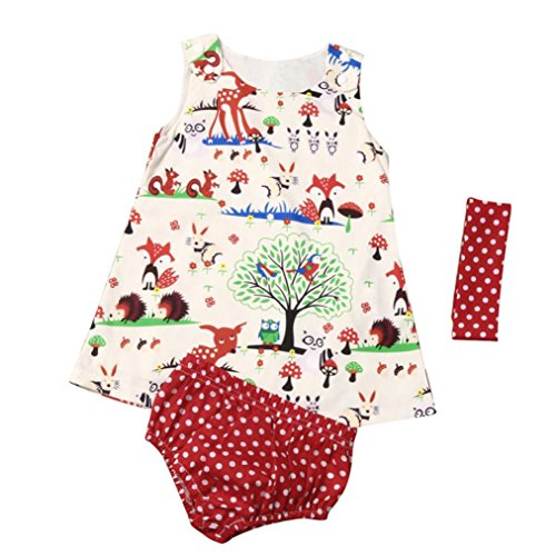 Coolster 3PCS Baby Mädchen Sommer Outfit Kleinkind Knopf Schulter Weste & Baby Bloomers & Hairband Set (Etikettengröße: 70, Mehrfarbig)