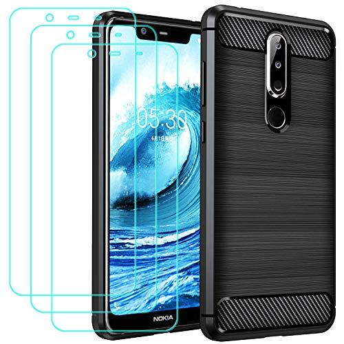 ivoler Hülle für Nokia 5.1 Plus mit 3 Panzerglas Schutzfolie, Schwarz Stylisch Karbon Design Anti-Kratzer Handyhülle Stoßfest Schutzhülle Cover Weiche TPU Silikon Hülle
